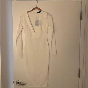 Long sleeved white midi dress
